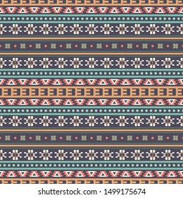 Seamless raster pattern in ethnic style. Background with tribal ornament of geometric shapes. Traditional textile design. Image for printing on paper, wallpaper, covers, fabrics, clothing and other