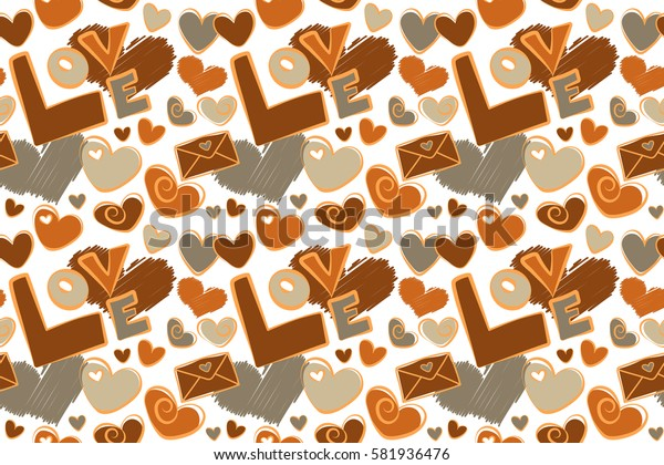 Seamless raster pattern with hearts, letter and love text. Template for wrapping, decor, surface, cards, backgrounds, textile, print. Decorative repeat ornament. Series of Love Patterns.