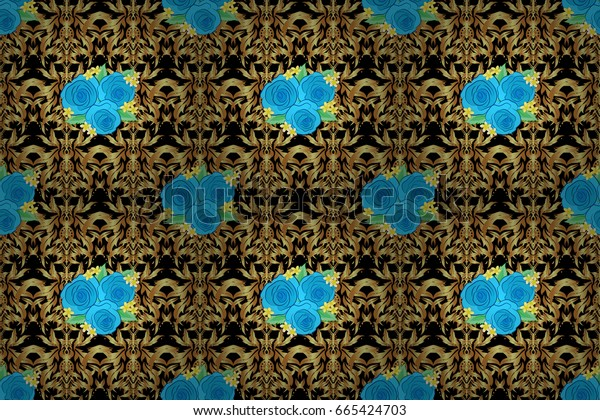 Seamless raster pattern on a black background with cute rose flowers and green leaves. Floral background.