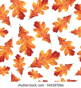 Seamless raster pattern with watercolor autumn oak leaves. Perfect for greetings, invitations, manufacture wrapping paper, textile, wedding and web design.