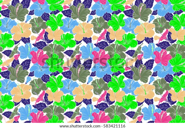 Seamless raster tropical design with hibiscus on a white background in green, violet and magenta colors. Exotic flowers in allover composition. Pattern for summer fashion, interior, wallpaper.