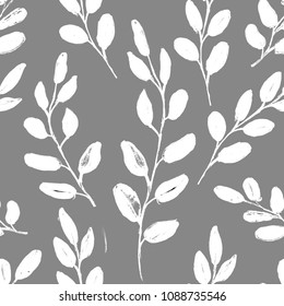 Seamless Realistic Watercolor Greenery Pattern. Hand Drawn Eucalyptus Leaves and Branches Print. Summer, Spring Forest Herbs, Plants Texture. Foliage in Vintage Style.  Nature Eco Friendly Concept.