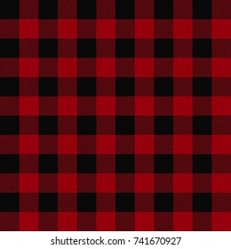 Seamless Red & Black Buffalo Plaid