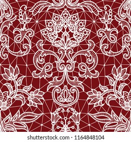 Seamless red lace background with floral pattern