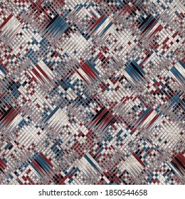 Seamless red white and blue textured geometric pattern. High quality illustration. Color blocked shapes in an old vintage look. Generic and versatile design useful for all types of surface design.