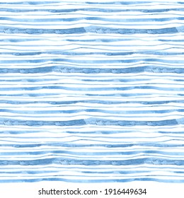 Seamless repeat pattern with irregular gorisontal stripes. Hand drawn watercolor texture. Lovely blue and white background.