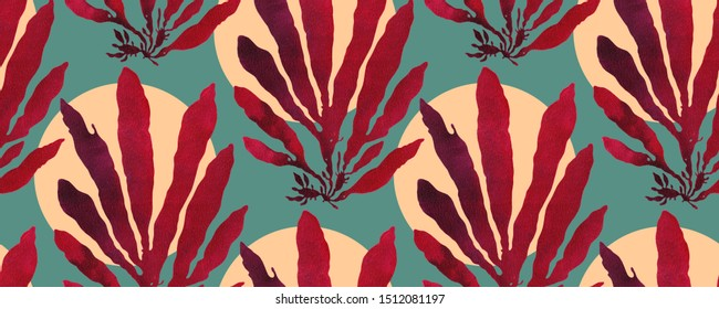 Seamless repeat pattern with palmaria dulse seaweed. Deep red on teal background. Printed by hand with oil base ink creating unique gradient paint texture. Ocean art.