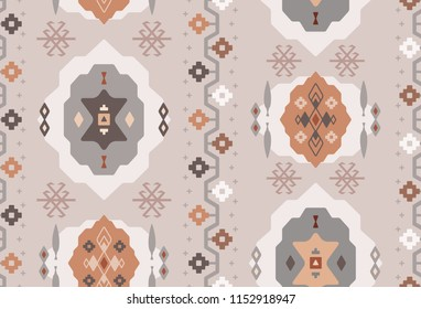 Seamless Repeat Tribal Turkish Kilim Carpet Pattern in Blush, Copper, and Gun Metal Gray. Great for fabric, textile, fashion, background, paper, print, scrapbooking, and home decor
