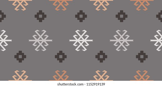 Seamless Repeat Tribal Turkish Kilim Scorpion and Geometric Floral Pattern in Blush, Peach, and Charcoal. Great for fabric, textile, fashion, background, paper, print, scrapbooking, and home decor.