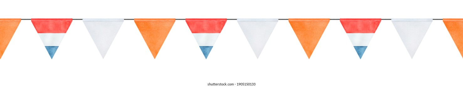 Seamless repeatable border of festive watercolour string bunting with flag of the Netherlands. Koningsdag and King's Day decoration. Hand painted graphic drawing, cutout clip art element for design.