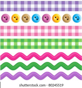 Seamless (repeatable) borders - gingham ribbons, ric rac tapes, sewing buttons ( for vector EPS see image 80245516 )