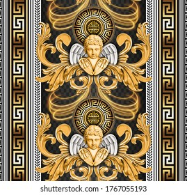 Seamless repeated Baroque, winged angel head, with geometric greek key border and shiny gold colors. Trendy Graphic Design for textile and All surface designs.