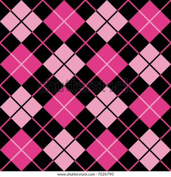 "A seamless, repeating 12"" square argyle pattern in black, magenta and pink."