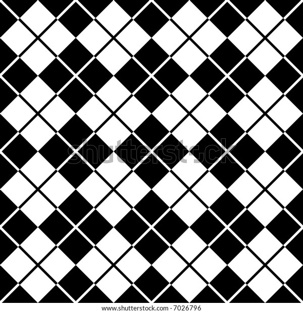 """A seamless, repeating 12"""" square argyle pattern in black and white."""