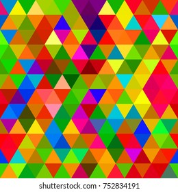 A seamless repeating background pattern with colourful triangles.