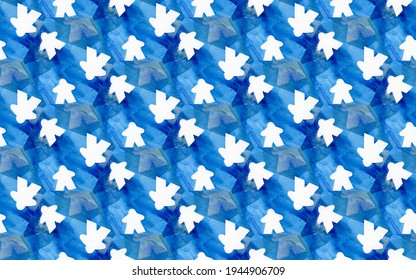 Seamless repeating tile of white people meeple shapes on an abstract painted blue background