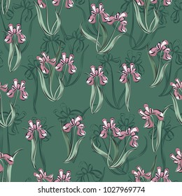Seamless retro 1940s pattern in flowers of cute irises. Vintage floral background for textile, wallpaper, pattern fills, covers, surface, print, gift wrap, scrapbooking, decoupage.