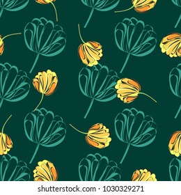 Seamless retro 1940s pattern in flowers of cute tulips, irises. Vintage floral background for textile, wallpaper, pattern fills, covers, surface, print, gift wrap, scrapbooking, decoupage.