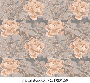 Seamless retro floral pattern, beige flowers on a grey background.