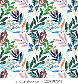 Seamless retro floral pattern. Multicolor leaves on white.