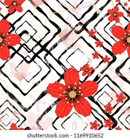 Seamless retro floral pattern, red flowers on white background.