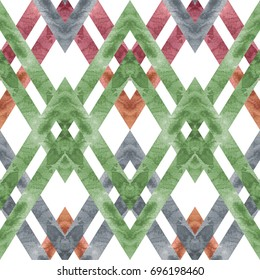 Seamless retro geometric pattern with rhombus lines. Colored watercolor background in trendy colors.