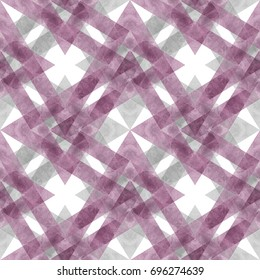 Seamless retro geometric pattern with rhombus lines. Purple watercolor background in trendy mulberry tint.