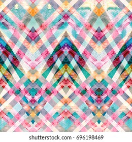 Seamless retro geometric pattern with zigzag lines. Multicolored watercolor background.