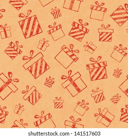 Seamless retro pattern with gift boxes