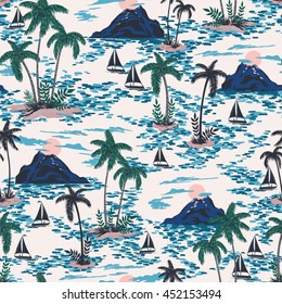seamless retro style hawaii pattern with mountain, sunset, palm trees, boats. colorful bright artistic tropic fantasy background allover print
