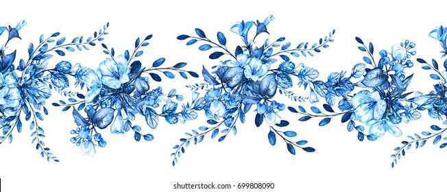 seamless rim. Border with blue Herbs and wild flowers, leaves. Botanical Illustration on white background. Spring composition, botanic, watercolor drawing