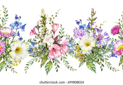 seamless rim. Border with Herbs and wild flowers, leaves. Botanical Illustration on white background. Spring composition, botanic, watercolor drawing