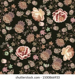 Seamless romantic pattern with garden and fantasy flowers, leaves, little berries and paisley on black background. Print for scarf, dress. Tapestry.