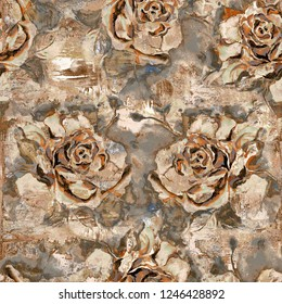 seamless rose background pattern design; Heavily Mixed Retro Brown Flower Decor For Interior Home,  Abstract Flower Wall Tile Design for Home,  Ceramic Tile Design.wallpaper, linoleum,textile, webpage