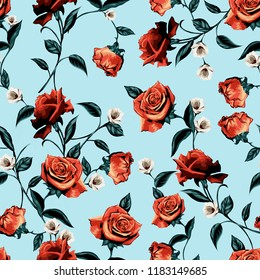seamless rose pattern with leaves