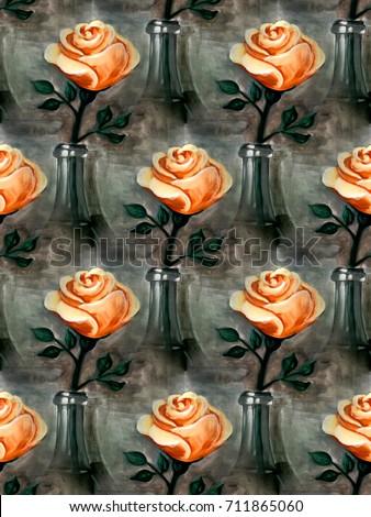 Seamless Rose Pattern Orange Rose Rosebud Stock Illustration