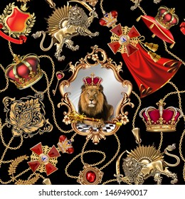 Seamless royal dynasty objects Fashionable pattern in ancient vintage style with lion king, chain,black background. Will tile endlessly. Pattern for textile, design and backgrounds.