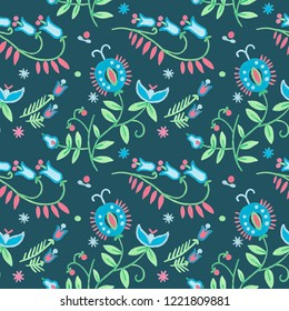 Seamless rustic pattern floral art, Gouache illustration of herbal flowers decor. Ornamental ethnic motifs with fashion primitive rural design.