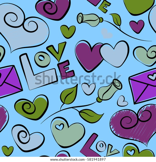 Seamless Saint Valentines Pattern in violet, purple and blue colors with hearts, rose flower and love text. Valentines day background.