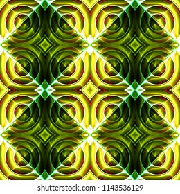 Seamless science fiction patterns of art deco shapes. 3d illustration