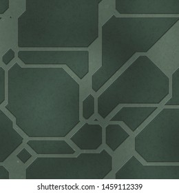 Seamless SciFi Panels. Futuristic texture. Spaceship hull geometric pattern. 3d illustration. Technology concept.