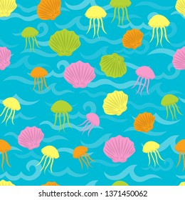 Seamless sea pattern in nautical-inspired design. Sea background with seashells, starfishes and jellyfishes. Blue ocean water wave. Seamless pattern with marine life