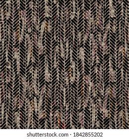Seamless sepia grunge chevron stripe print texture background. Worn mottled linear striped pattern textile fabric. Grunge rough blur linen allover print