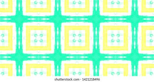 Seamless Shirt Checks Pattern. Ethnic Ornament with Green and Yellow Quadrangles. Ornamental Illustration. Vintage Shibori Textile Design. Watercolor Shirt Checks.