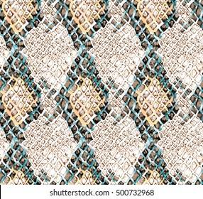 Seamless snake print pattern, Digital painting.