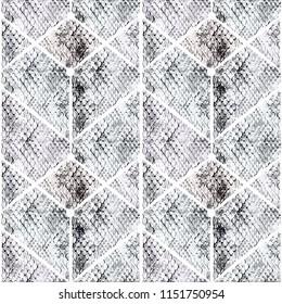 Seamless snake skin pattern on geometric background.