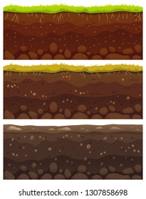 Seamless soil layers. Layered dirt clay, ground layer with stones and grass on dirts cliff texture, underground buried rock, archeology landscape cartoon  pattern isolated set