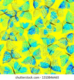 Seamless spring pattern with pretty blue and green colors butterflies on yellow background. Cute butterfly pattern