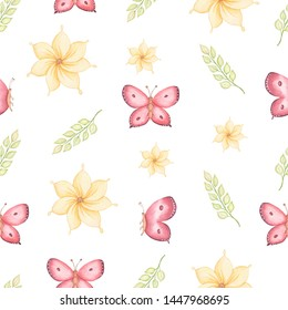 Seamless spring pattern yellow flowers, green leaves and flying butterflies. Hand drawn watercolor illustration on white background.