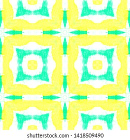 Seamless Square Pattern. Geometric Ornament with Green and Yellow Quadrangles. Handmade Wallpaper. Aquarelle Bohemian Tile Design. Watercolor Square Pattern.